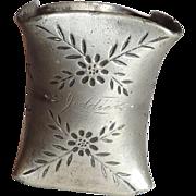 """Antique Etched Napkin Ring monogrammed """"Jeddie"""""""