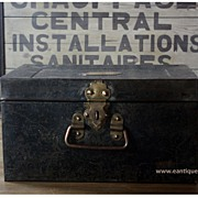 SOLD Antique English Officer's Metal Storage Box - Vintage Industrial Deed / Travel Trunk
