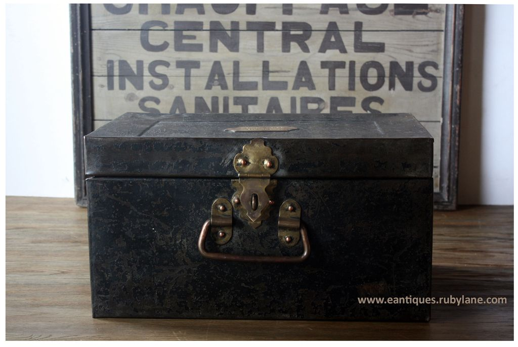 Antique English Officer's Metal Storage Box - Vintage Industrial Deed / Travel Trunk