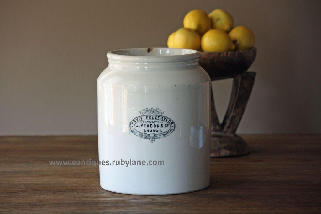 Antique English Ironstone Jam Preserve Jar / Crock - Advertising Pot - Shop Display