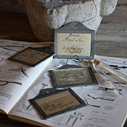 SOLD Antique French Wine Bin Cellar Labels & Glass Seed Vials