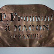 Antique French Copper Metal Wine Merchants Crate Stencil