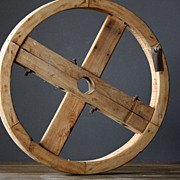 SALE PENDING Antique French Pulley Wheel -  19th Century Industrial / Architectural Salvage El