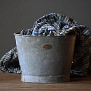 SOLD Antique Hassocks Flower Bucket - Vintage  Metal Florists Display Bucket #2