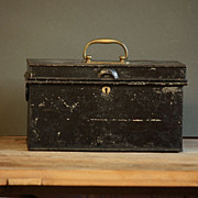Vintage Industrial English Painted Metal Deeds Cash Box