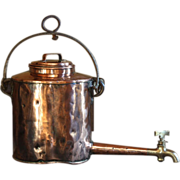 SOLD Antique Georgian English Copper Hot Water Kettle Pot