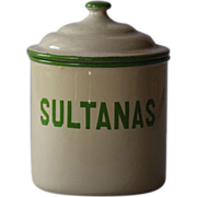 Vintage English Enamelware SULTANAS Kitchen Canister - Graniteware