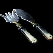 SOLD Antique English Georgian Era Fish Slice Servers- 19th Century Knife and Fork