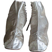 19th Century English Ladies' Silk Ankle Boots - Antique Satin Textile Shoes