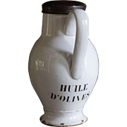 Antique French HUILE D' OLIVES Faience Pot - 19th Century White Glazed Earthenware Olive Oil Jug