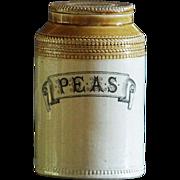 Antique Scottish Stoneware Pottery PEAS Jar - 19th Century Victorian Kitchen Storage Canister
