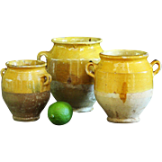 SMALL 19th century French CONFIT Pots - Antique TINY Yellow Glazed Earthenware Jars