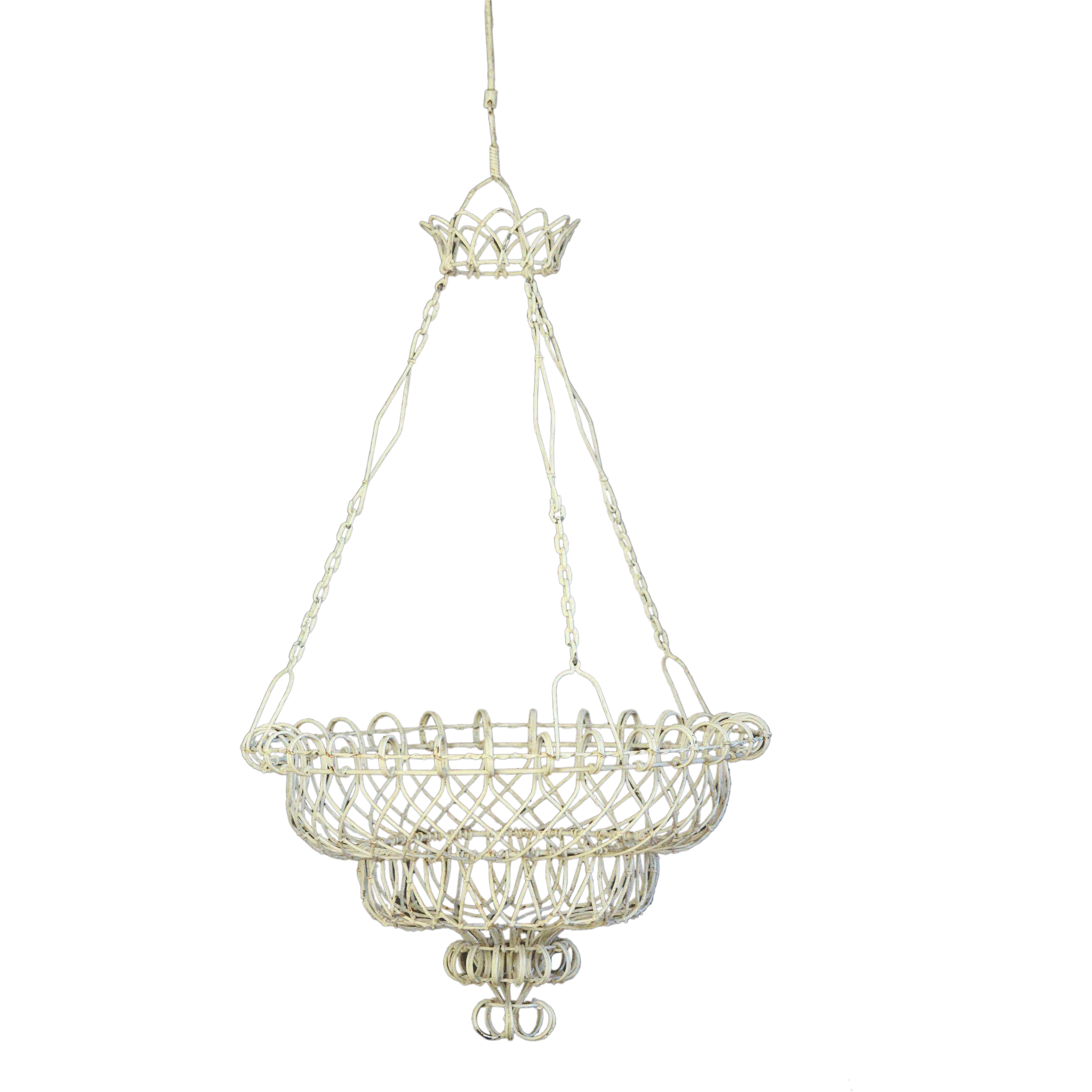 Antique French Large Hanging Wire Flower Basket Planter