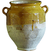 MEDIUM -- Late 19th Century French Confit Pot - Antique Yellow-Glazed Earthenware Pot