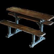 RARE Antique Victorian English SCALE Model - School Desk Row - 19th Century SALESMAN'S Sample / Apprentice Piece