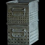 Vintage Industrial Factory Metal Storage Bins / Boxes / Totes