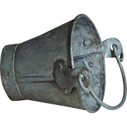 SOLD Antique English SMALL Childs PAIL -  TINY Galvanized Zinc Metal Bucket