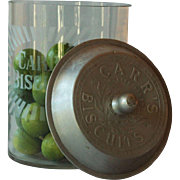 English Carr's Biscuits Advertising Glass Jar - Shop Display