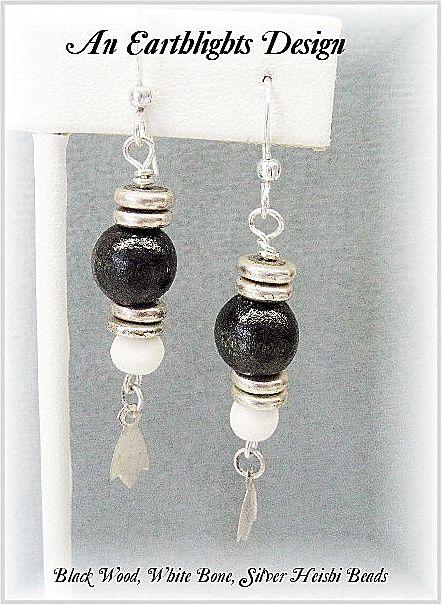 White Bone & Wood Dangle Earrings - Africa Collection