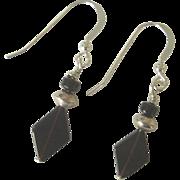 Black Onyx/Sterling Silver Dangle Earrings