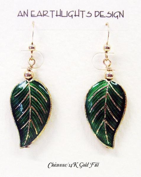 "Wonderful Cloisonne ""Leaf""  Dangle Earrings"