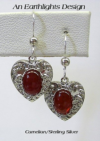 Carnelian Heart Shaped Earrings