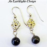 Lovely Nephrite Jade and 14K Gold Fill Dangle Earrings