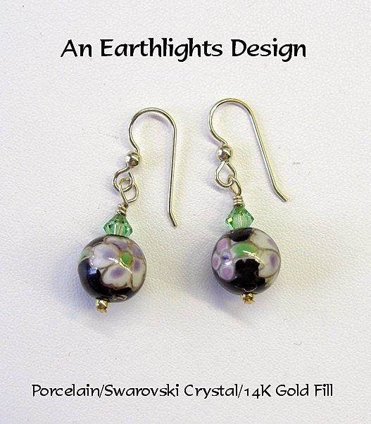 Beautiful Porcelain and Crystal Dangle Earrings