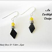 Black Onyx/Yellow Agate Dangle Earrings
