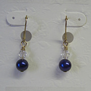 Dark Blue Freshwater Pearl/Crystal Dangle Earrings