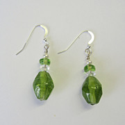 Frosted Glass Dangle Earrings