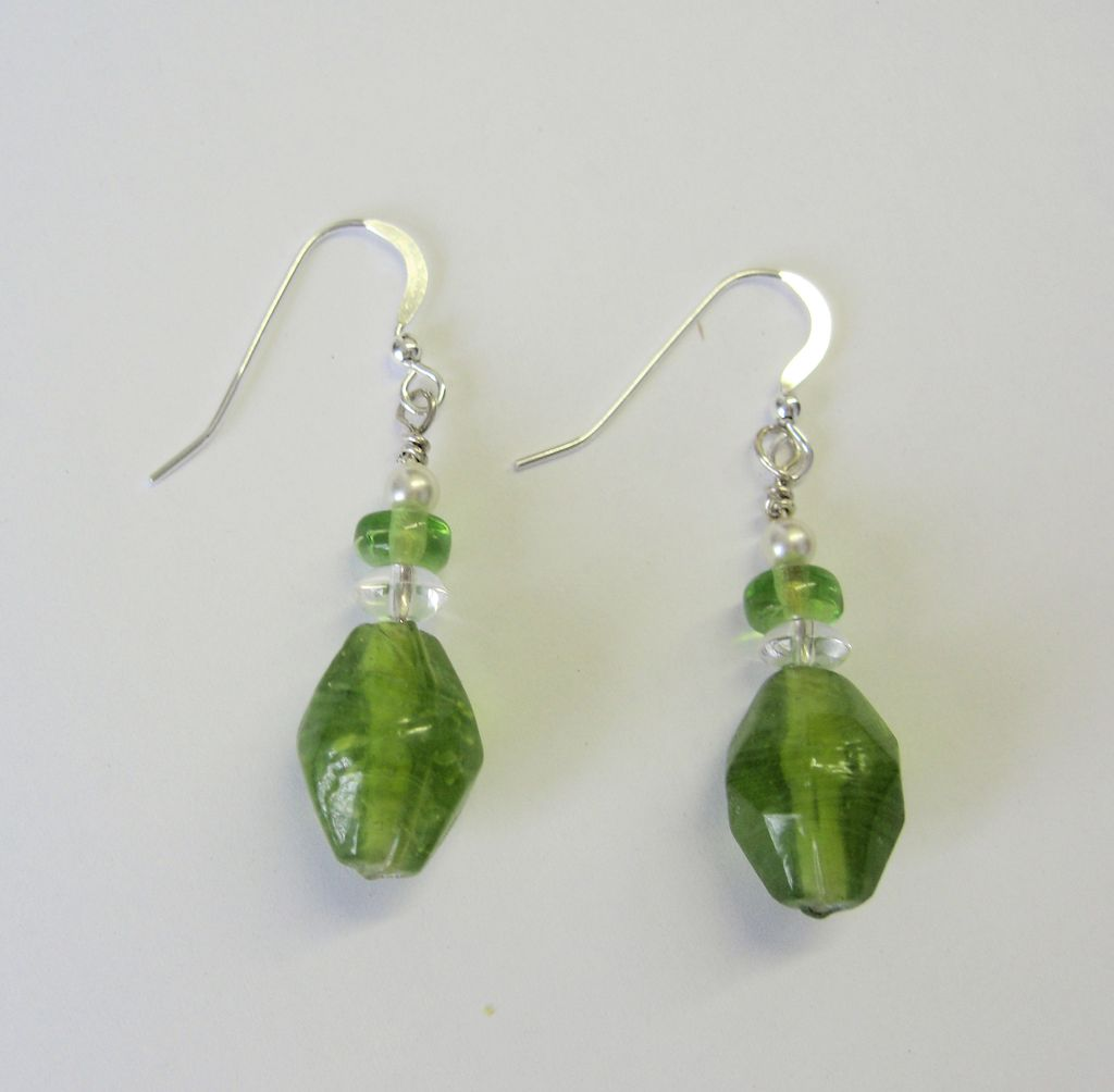 Frosted Glass Dangle Earrings