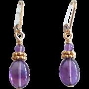 Oval Amethyst/Vermeil Earrings