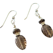 Carved Smoky Quartz Leaf Earrings