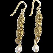 LONG, Ornate Freshwater Pearl Earrings