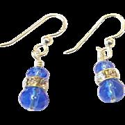 Cobalt Blue/Rhinestone Crystal Earrings