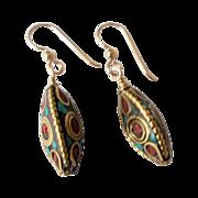 Beautiful Brass Inlay Earrings