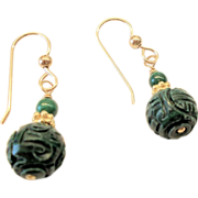 Carved Malachite Earrings