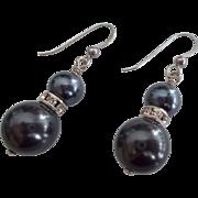 Black Swarovski Pearl Earrings