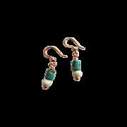 Petite Turquoise/White Bone Earrings