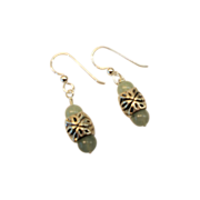 Aventurine/Ornate Sterling Earrings
