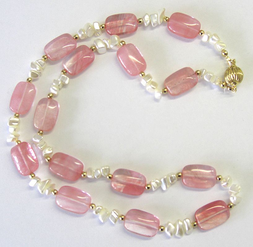 """""""Cherry Quartz"""" and Mother of Pearl Necklace"""