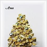 Signed AVON Vintage Christmas Tree Pin w/Rhinestones