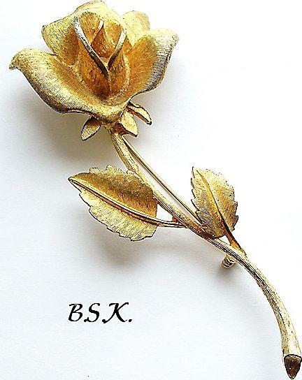Lovely Vintage Signed Long-Stemmed Rose Pin