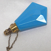 Mini Perfume Blue Opaque Glass Chatelaine Vintage