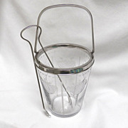 SOLD Hawkes Etched  Glass Ice Bucket with Tongs