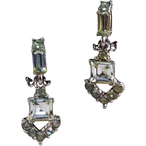 ca 1950 Bogoff Rhinestone Earrings Wonderful Design