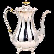 Elegant Antique John Round & Son EPNS Coffee Pot With Bone Accents - c.1886-1887
