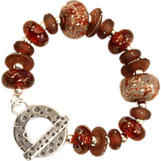 OOAK Davison Spectacular Custom Beads 18K Accented and Lampwork Bead Sterling Bracelet
