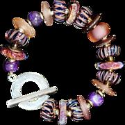 OOAK Davison Custom Lampwork Beads, Sugalite, and Sterling Bracelet